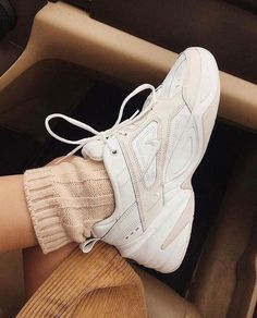 Nike Tekno Leather Sneakers Nike two-tone leather sneakers with signature Swoosh® at chunky heel with platform.Pull-tab at back collar.Rubber Tekno is imported. Fashion Mode, Look Fashion, Fashion Shoes, Sneakers Fashion, Fashion 2020, Fashion Dresses, Sock Shoes, Cute Shoes, Me Too Shoes
