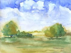 Watercolor Landscape Trees Original Painting