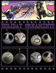 Day of the Dead Dios De Los Muertos Jack and Sally Nightmare Before Christmas Ornaments OOAK