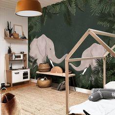 Little Hands wallpaper - Joli Place - panoramic wallpaper elephant kids room - Baby Bedroom, Baby Boy Rooms, Baby Room Decor, Bedroom Kids, Boys Jungle Bedroom, Nursery Boy, Bedroom Decor, Jungle Baby Room, Elephant Nursery