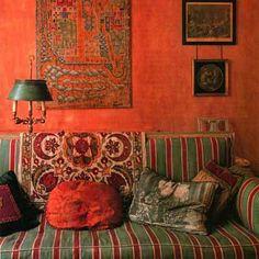 ⋴⍕ Boho Decor Bliss ⍕⋼ bright gypsy color & hippie bohemian mixed pattern home decorating ideas - deep orange walls