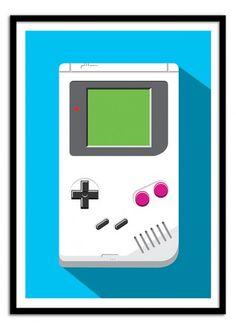 Art-Poster Wall Editions : Nintendo Game Boy Tribute, by Olivier. Format : 50 x 70 cm. #nintendo #flat #design #geek #poster #print #art #walleditions