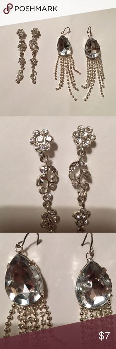 """Silver formal earring bundle! NWOT Two pairs of gorgeous silver dangle earrings. NWOT. Neither have been worn. One of those pre-prom purchases then you end up finding something better at the last minute. First pair has flower/leaf dangles with silver gem detail. Second pair has large silver gem at ear lobe with delicate silver beads/gems falling from main piece. Each dangle between 1.5""""-2"""". Selling cheaper on Ⓜ️ Jewelry Earrings"""
