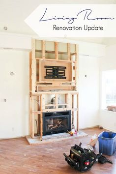 One Room Challenge {Week Three}: Fireplaces, Painting, and Repainting – Love Create Celebrate – Electric Fireplace Fireplace Surround Diy, Fireplace Tv Wall, Build A Fireplace, Fireplace Built Ins, Fireplace Remodel, Fireplace Surrounds, Fireplace Design, Fireplace Ideas, Electric Fireplace Surround