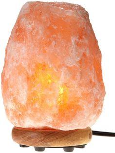 Hemingweigh Natural Himalayan Rock Salt Lamp w/ Wood Base Electric Crystal Amber #Unbranded #Contemporary