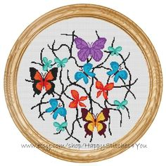 Cross Stitch Pattern PDF butterflies DD0164 di HappyStitches4You