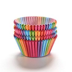 Rainbow Paper Cake Cup, Ocaler Colorful Baking Muffin Liner 100 Pcs