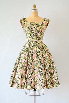 vintage 1950s floral green and pink cotton party dress