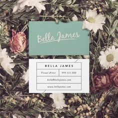 Business Card Download Retro Mint by PrintableBusinessArt on Etsy