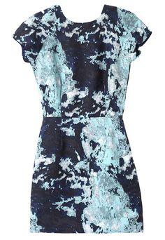 Black Short Sleeve Ink Floral Slim Dress