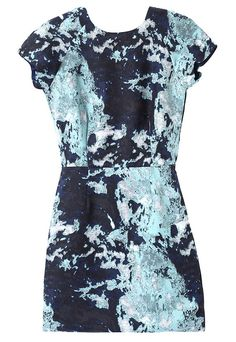 Black Short Sleeve Ink Floral Slim Dress - Sheinside.com