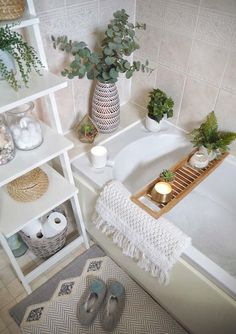 Small bathroom makeover using artificial plants and ikea ladder shelves as a feature. Neutral bathroom decor, boho bath mat and wooden bath shelf to create a cosy bath scene. Small bathroom interior on a budget - how to update your bathroom using acc Small Bathroom Interior, Neutral Bathroom, Small Bathroom Storage, Bathroom Plants, Bathroom Furniture, Bathroom Organization, Small Storage, Bathroom Cabinets, Extra Storage