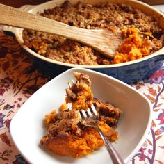 Sweet Potato Casserole with Brown Sugar and Pecans (Less Sugar Version) from It's Not Easy Eating Green.