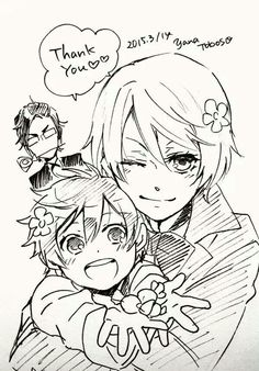 Happy White-Day from Alois Trancy, Luca, and Claude Faustus! {drawn by Yana Toboso} Black Butler Alois, Black Butler Anime, Black Butler Kuroshitsuji, Manga Art, Manga Anime, Anime Art, Vocaloid, Claude Faustus, Ciel E