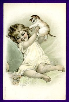 Victorian vintage cat postcard Frances Brundage pretty girl w curls holds cat in air