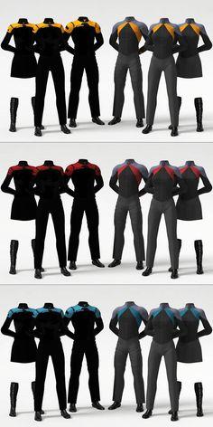 Star Trek Post-Film RPG Uniform Concept by on DeviantArt - Future concept uniforms. Officers & Crew, male & two female, for each duty color. Star Trek Rpg, Star Wars, Star Trek Ships, Stargate, Star Trek Outfits, Science Fiction, Star Trek Gifts, Start Trek, Star Trek Online
