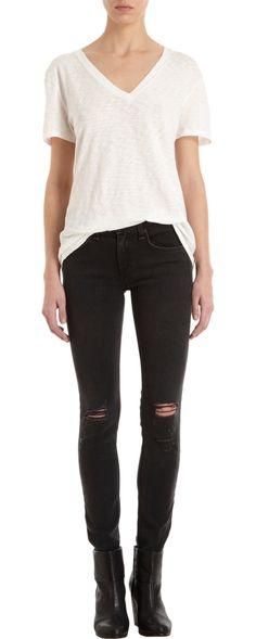 Rag & Bone Skinny Jean. Tear dem faded black jeans jusssst a bit