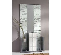 le presentamos este mueble recibidor con un original y moderno espejo de diseo urbano en blanco