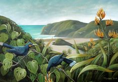 """Painting by Monique Endt """"Huia at Anawhata Acrylic on canvas, Birds and animals, New Zealand Artist / Art, landscape Nz Art, Artist Art, Contemporary Artists, New Zealand, Museum, Canvas Prints, Birds, Landscape, Animals"""