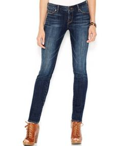 A classic go-to, these Lucky Brand skinny jeans were made to be dressed up or down, day or night.   Lyocell/cotton/rayon/polyester/spandex   Machine washable   Imported   Mid rise: waistband sits belo