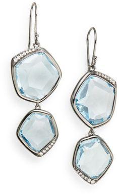 Ippolita Diamond Blue Topaz Sterling Silver Earrings in Silver