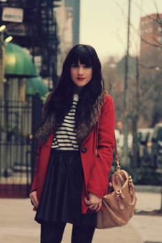 Flashes of Style striped shirt, black skirt, red coat outfit pairing autumn fall winter