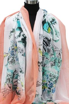 Sjaal een jungle van bloemen en vlinders met coral rand