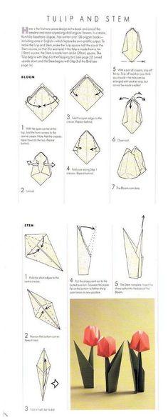 Origami Tulip and Stem Folding Instructions / Origami Instruction