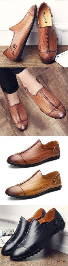 US$47.44 + Free shipping. US Size 6.5-11 Men Genuine Leather Hand Stitching Slip On Flats. Men's shoes, men's flats, Genuine Leather Flats, for leisure, for business. Color: Black, Brown, Kahki. Get the look!