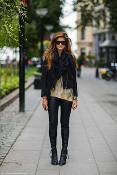 more leather pants & ankle boots