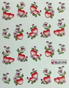 Nail Art Water Decals Red Hearts W/ Flowers Water Transfer, Decals, Nail Art, Nails, Creative, Virginia, Flowers, Red Hearts, Decorations