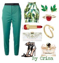 """floral"" by crisa-gloria-eduardo ❤ liked on Polyvore featuring M Missoni, River Island, Salvatore Ferragamo, Estée Lauder, Finn and Alison Lou"