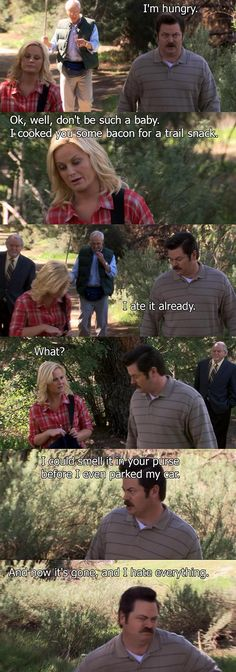 "Parks and Recreation Season 2 Episode 20: Summer Catalogue. ""I could smell it in your purse before I even parked my car. And now it's gone and I hate everything."""