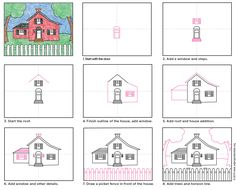 Draw a Country House. PDF tutorial available.
