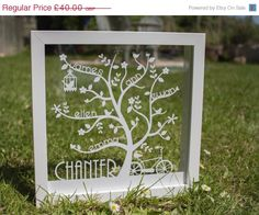 paper cut in glass frame/shadow box type thing