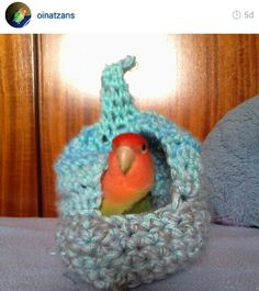 Knitted bird cave