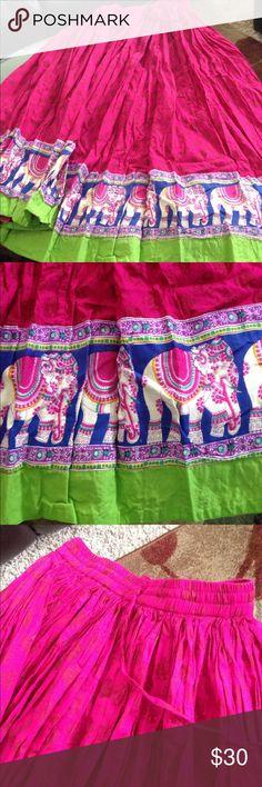 Printed cotton long skirt in fuschia Elastic waist band  Beautiful elephant design  Never used 100% cotton Is lined up to knee length Made in India akkriti Skirts Maxi