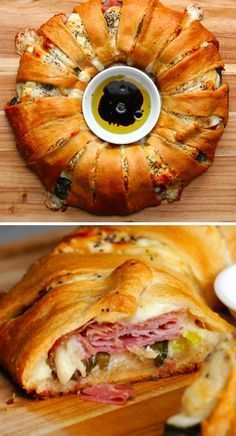 Baked Ham & Cheese Ring Recipe by Tasty Baked Ham & Cheese Ring Recipe by Tasty,food backen herzhaft This Ham And Cheese Ring Is Basically A Work Of Meaty, Cheesy Art《《 2 cans Crescent Roll Recipes, Crescent Roll Ring Recipes, Pilsbury Crescent Recipes, Crescent Roll Pizza Ring, Italian Crescent Ring, Cresent Roll Appetizers, Chicken Crescent Rolls, Good Food, Yummy Food