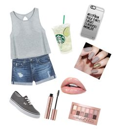"""""""💗"""" by brennav2003 on Polyvore featuring AG Adriano Goldschmied, Vans, Casetify and Maybelline"""