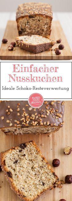 Einfacher Nusskuchen mit Schokolade: Schmeckt der ganzen Familie zum Nachmittagskaffee - und eignet sich auch perfekt zur Resteverwertung von überzähligen Osterhasen