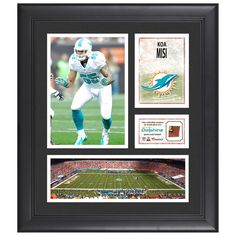 "Koa Misi Miami Dolphins Fanatics Authentic Framed 15"" x 17"" Collage with Piece of Game-Used Football - $63.99"