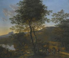 Willem de Heusch -   Italianate wooded river landscape with travellers and their mules on a path, A shepherd and his flock, and a mountain beyond