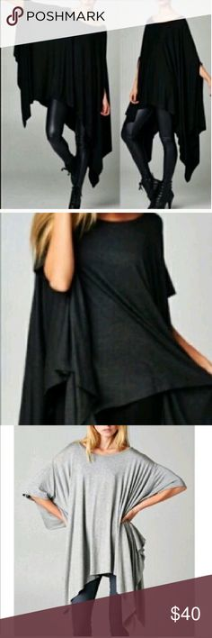 Black Tunic Asymetric  Top Beautiful Black Tunic top wear as shown. With the skinny leather pants or Jeans. Sold out in black. Only one . Tops Blouses
