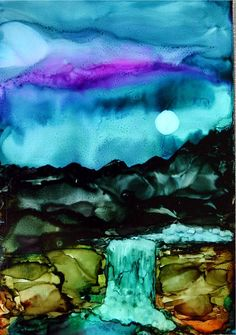 Waterfall by ArtworksEclectic. Abstract alcohol inks on Yupo paper.
