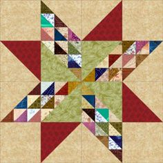 Scrap Quilt Patterns... Let's Put that Fabric Stash to Work: Twinkling Star Quilt Block Pattern