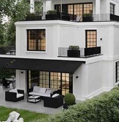 10 Ways to Bring Charm to Your Home's Exterior [With Images] : Ever dreamed of living in a storybook? This house may be the perfect fit for you. Tag a couple friends who would love this little home! Modern Exterior, Exterior Design, Interior And Exterior, Black Exterior, Patio Design, Balkon Design, Dream House Exterior, House Exteriors, House Goals