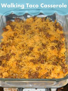 Walking Taco Casserole- Corn Chips, Ground Beef/Taco Mix and Shredded Cheese layered. Bake at 350 for 15-20 minutes.
