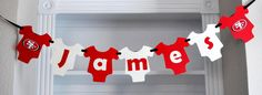 Football Team Onesie Banner party set, inspired on 49ers  party theme for baby shower A534. $18.00, via Etsy.