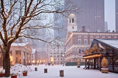 Christmas Snow at Faneuil Hall Marketplace, Boston ~ by Susan Cole Kelly