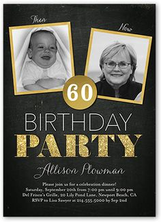 Then And Now Frames Birthday Invitation